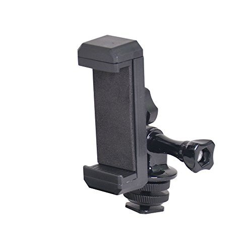(Bestshoot Phone Holder with Tripod Adapter Long Screw 1/4 Screw Hot Shoe Mount for Smartphone iPhone GoPro JVC Xiao Yi Sports Camera )