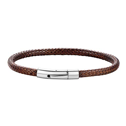 ChainsHouse Mens's Leather Bracelets 5mm Braided Wax Rope Black/White/Brown Wrist Bracelets for Women Relationship Best Friend Couple Customizable Jewelry, Length: 18/20/22 cm