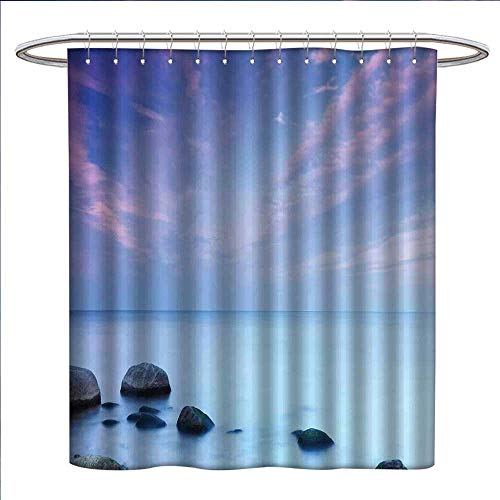 (Seaside Decor Shower Curtains Digital Printing Baltic Sea Coast Autumn Sunset Evening View Boulders on Water Tourism Picture Satin Fabric Bathroom Washable W72 x L72)