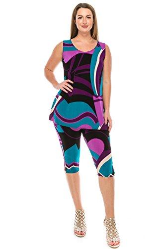 Jostar Women's Stretchy Tank Capri Pant Set Print Medium Purple Abstract