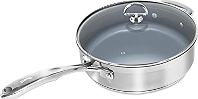 Chantal SLIN34-280C Induction 21 Steel Ceramic Coated Saute Skillet with Glass Tempered Lid, 5 quart, Silver