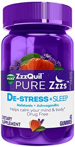 ZzzQuil Pure Zzzs De-Stress & Sleep Melatonin Gummies, 42 ct, with Ashwagandha, Chamomile, Lavender