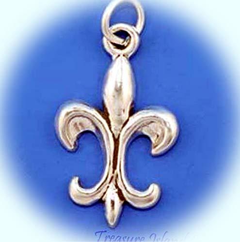 (Fleur De Lis Iris Flower Saints .925 Sterling Silver Charm Pendant Vintage Crafting Pendant Jewelry Making Supplies - DIY for Necklace Bracelet Accessories by CharmingSS)