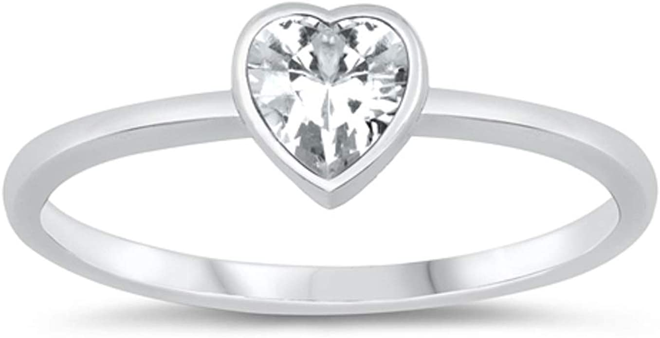 CloseoutWarehouse Cubic Zirconia Bow Tie Design with Heart Shaped Ring Sterling Silver