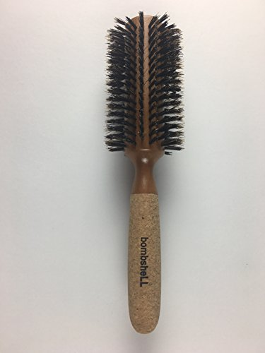 bombshell blowout Hair Brush Classic Round Sustainable Wood, Cork Handle, Boar Bristle (Large 3 inch) 3.5 ounce