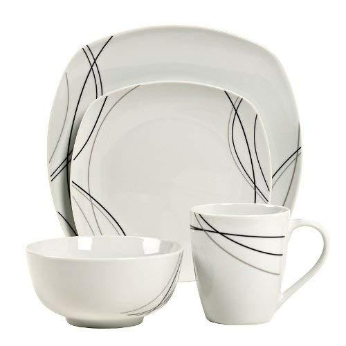 Gallery Alec Square 16-pc. Porcelain Dinnerware Set, White/Black