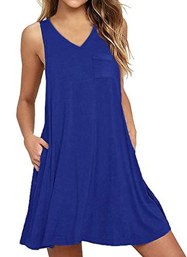 T-shirt Patch Sleeveless - Yanekop Womens Summer Sleeveless Swing T-Shirt Dress Beach Loose Tank Dress with Pockets(Royal Blue,M)