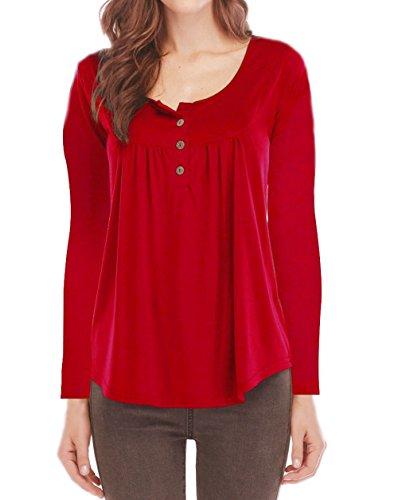 Jumpers Automne Casual Printemps T Femmes Shirts Tops Rouge Longues Tees Blouse Hauts New Chemisiers et Manches Plier 6ffSqPw