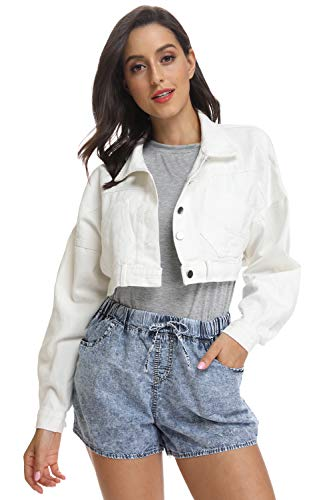 kefirlily Women's Premium Denim Jacket Long Sleeve Washed Crop Jean Coats-White S (Jacket Denim Stonewashed)