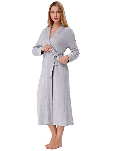Zexxxy Lightweight Robes for Women Long Soft House Robes with Stripe Light Grey L