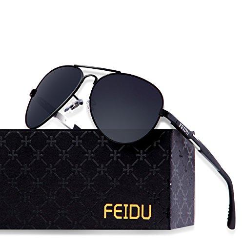 FEIDU Mens Polarized Aviator Sunglasses Metal Frame Unisex Sun Glasses FD9001 (C1, - Glasses Polarizing