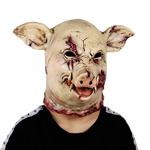 Waylike Scary Animal Latex Mask Halloween Costume Cosplay Props Bloody Pig Head Butcher Horror Adult Head Mask