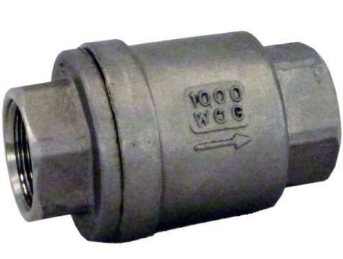 Duda Energy VCV-WOG1000-F050 Vertical Check Valve, 304 Stainless Steel, 1/2'' NPT Spring Loaded In-line Low Cracking Pressure, 0.5''