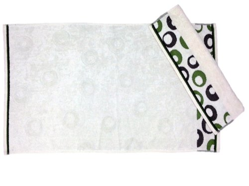 Maghso Arion Hand Towel, White/Green, Set of 2