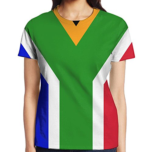 Flag Of South Africa Graphic O Neck Short Sleeve Shirt For Woman by HSJOTT