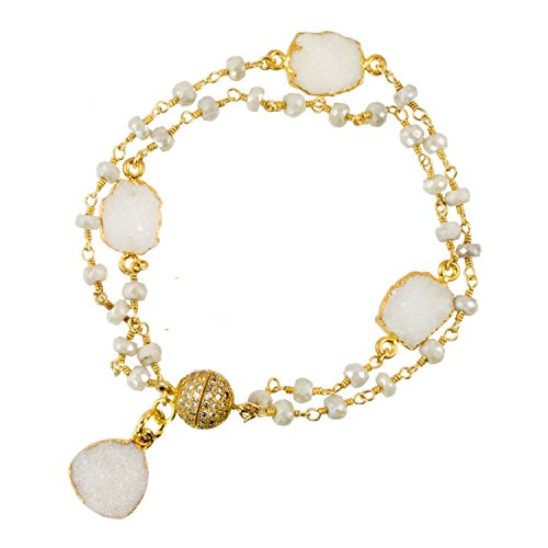 Sapphire Clasp - Beaded White Sapphire Gold-Filled Chain with Gold Plated White Sapphire Druzy and Pave CZ Magnetic Clasp - Link Bracelet