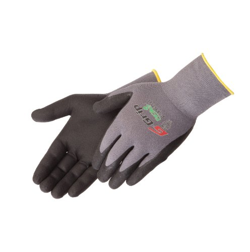 Liberty G-Grip Nitrile Micro-Foam Palm Coated Seamless Knit Glove with 13-Gauge Gray Nylon Shell, Large, Black (Pack of 12) (Medium Shell Grip)