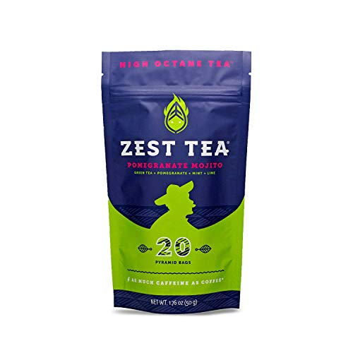 Zest Tea Energy Hot Tea, High Caffeine Blend Natural & Healthy Black Coffee Substitute, Perfect for Keto, 135 mg Caffeine per Serving, Pomegranate Mojito Green Tea, 20 Sachets (1 Pouch)