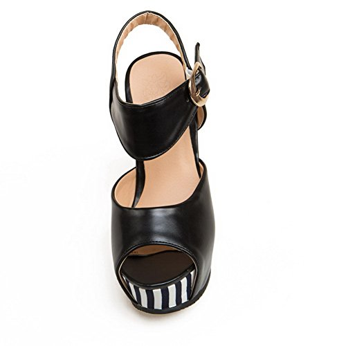 AmoonyFashion Womens Soft Material Peep-Toe High-Heels Buckle Assorted Color Sandals Black SPFOPytL