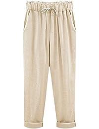 Women's Elastic Waist Casual Relaxed Fit Capris Pants Drawstring Cotton Linen Cropped Pants