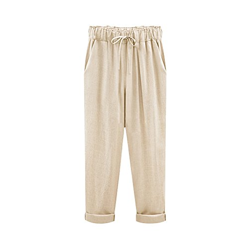 Womens Linen Drawstring Pants - 9