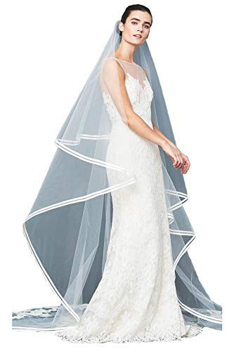 Passat Ivory XLCathedral 2 Tier Alencon lace double row of silk taffeta bias bands Cathedral Wedding Veil 96 ()