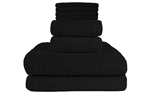 100% Turkish Terry Soft Cotton 8-Piece Towel Set, (2 King Size Bath Towels, 2 Hand Towels, 4 Wash Cloths), Made in Turkey (Black) (Sheets Bath Black)