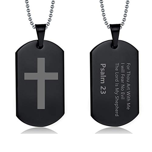 - LiFashion LF Mens Womens Stainless Steel Bible Verse Cross Dog Tag Necklace IP Black Plated Bible Psalm 23 Scripture Christan Cross Pendant Jewelry for Teen Adult for Baptism