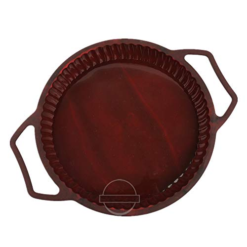 Fluted Round Tart Pan - KeepingcooX Non-Stick Fluted Flan Tin/Quiche Pan with Handles, Steel Frame to Anti-deformed, Pie Tart Pan Large Round, 26 cm (10