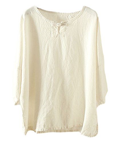 Soojun Women's Essential Casual Loose Solid Cotton Linen Tops Blouses 4 White ()