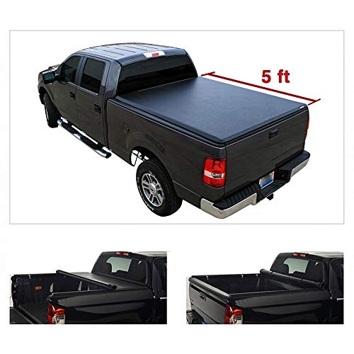 Riseking 5ft Bed Soft Lock  Roll-up Truck Bed fit 2005-2020 Nissan Frontier Crew Cab  09-12 Suzuki Equator Pickup Black Vinyl Clamp-on Top Mount Tonneau Cover Assembly with Rails+Mounting Hardware