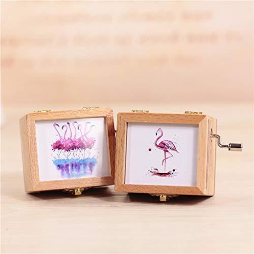 Ningbao Creative Gift Pink Girl Heart Retro Hand Music Box Wooden Wooden Music Box Student Gift Couple