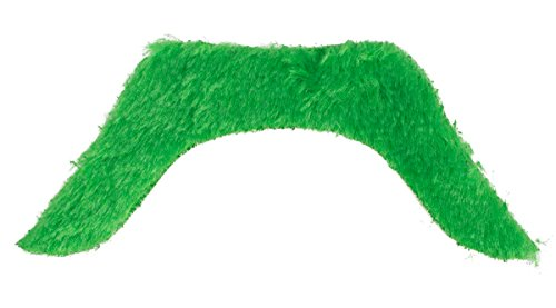 St. Patrick's Day Self Adhesive Fake Mustache Party Accessory, Green, One Size, 4.75