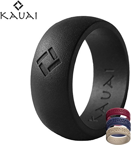Design Thick Ring Diamond (Kauai Silicone Wedding Rings - Largest Leading Brand, from the Latest Artist Design Innovations to Leading-Edge Comfort: Pro-Athletic Ring and Elegance Collection for Men,Black Diamond,Size 8)