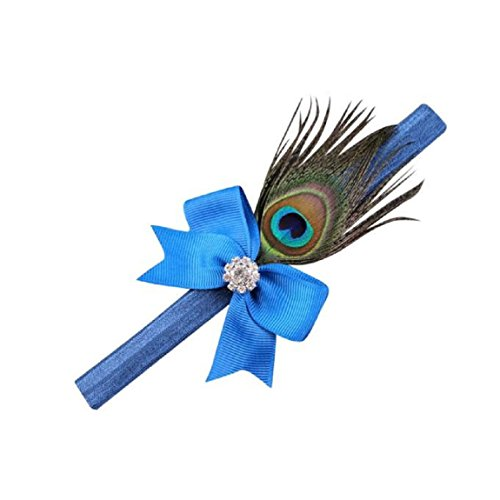 DKmagic Hair Accessories Crystal Peacock Feathers Baby Girls Headwear Princess Crystal Pearl Hairband (Blue)