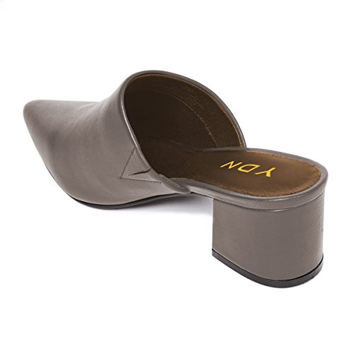 Heel Sandals Pointed Slide Loafers Grey Shoes on Low Slip YDN Toe Women Mules Block UwqvtpSxp