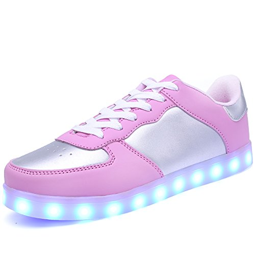 Ryanmay Jungen Mädchen und Kinder Shiny Night LED Leuchten Schuhe USB Lade Blinken Turnschuhe Für Kinder Rosa und Silber