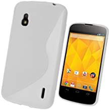 iGadgitz Dual Tone White Durable Crystal Gel Skin (TPU) Case Cover for LG Google Nexus 4 E960 Android Smartphone Cell Phone + Screen Protector