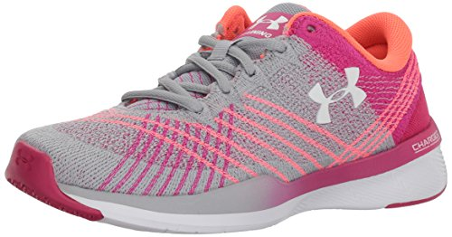 Under Armour Women's Threadborne Push Cross-Trainer Shoe, Overcast Gray (102)/Tropic Pink