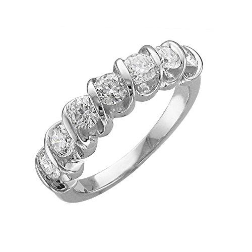 IGI Certified 14K White Gold 7 Stone Wedding/Anniversary Diamond Band Ring (0.95 Carat)