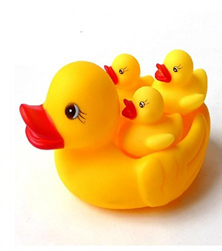 Baby Bathing Rubber Squeaky Ducks Floating Play Water Pool Tub Toys (Yellow) - 4 Pcs