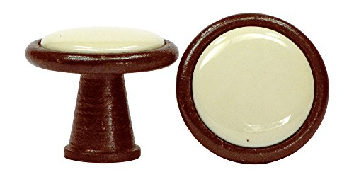 Porcelain knob with metal edging ivory antique iron 30 mm - Stilmelange quality from Europe since 1998
