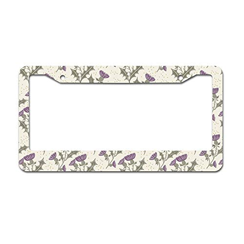 (DKISEE Abstract Purple Thistle On Cream Village Pattern License Plate Frame Aluminum Car License Plate Covers with 2 Holes 12