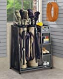 Suncast Golf Organizer Heavy Metal with Complete Storage For Two Golf Bags