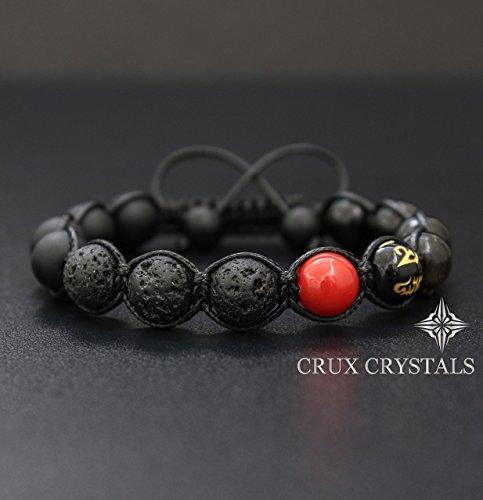 Beaded Obsidian Bracelet (Red Spot, Mens Natural Stone Lava Rock Beaded Bracelet, Gemstone Shamballa Wrap Bracelet, Black Onyx, Tibetan Mantra Om Mani Padme Hum, Gift for Him, Crux Crystals)