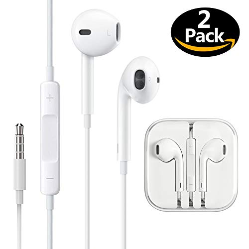 (2 Pack) Headphones/Earphones/Earbuds, ebasy 3.5mm Wired Headphones Noise Isolating Earphones with Built-in Microphone & Volume Control Compatible with iPhone iPod iPad Samsung/Android / MP3 MP4