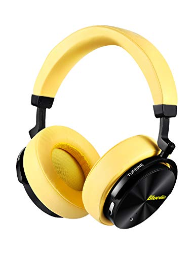 Bluedio T5 Active Noise Cancelling Headphones Over Ear Wireless Bluetooth Headphones with Mic Portable Stereo Headsets for Cell Phones Travel Work (Yellow) ()