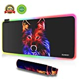 BUANIIH RGB Gaming Mouse Pad Large (31.49' x 11.81' x 0.15'), Extra Large Soft LED Extended Mouse Pad Computer Keyboard Mat,Durable Stitched Edges and Non-Slip Rubber Base