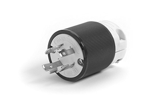Woodhead 28T77 Safeway Plug, Industrial Duty, Locking Blade, 3 Phase, 3 Poles, 4 Wires, NEMA L17-30 Configuration, Nylon, Black and White, 30A Current, 600V Voltage by Woodhead