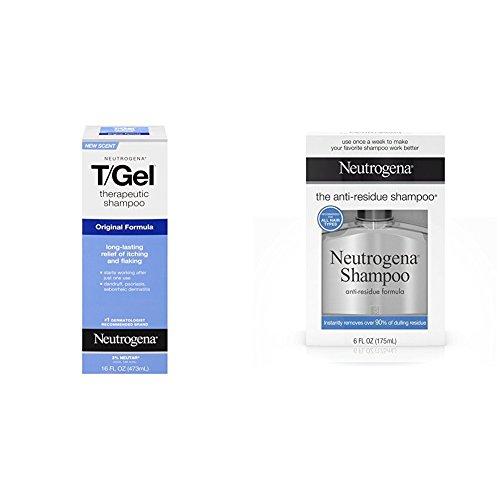 Neutrogena Anti-Residue Shampoo, 6 Fl. Oz & Neutrogena T/Gel Therapeutic Shampoo Original Formula, Dandruff Treatment, 16 Fl. Oz